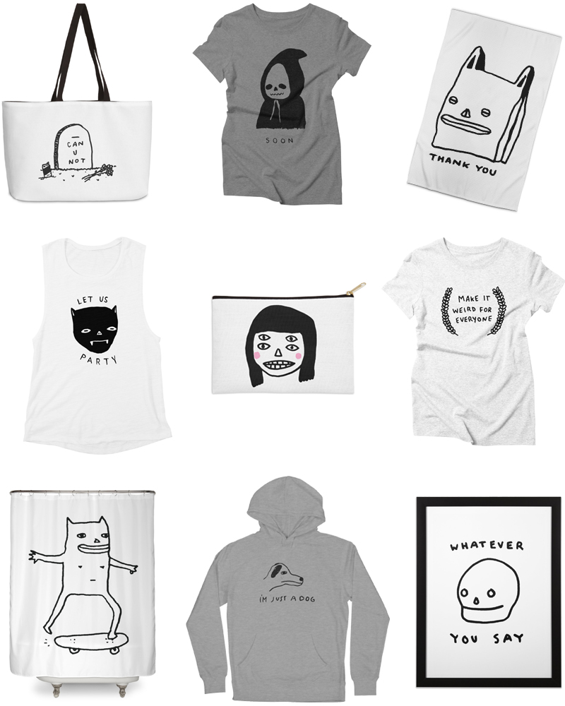 """weekender bag, """"SOON"""" triblend tee, and """"Thank You for Shopping"""" rug 