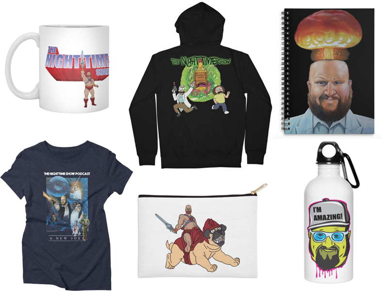 "A few products in ""The Night Time Show"" Artist Shop."
