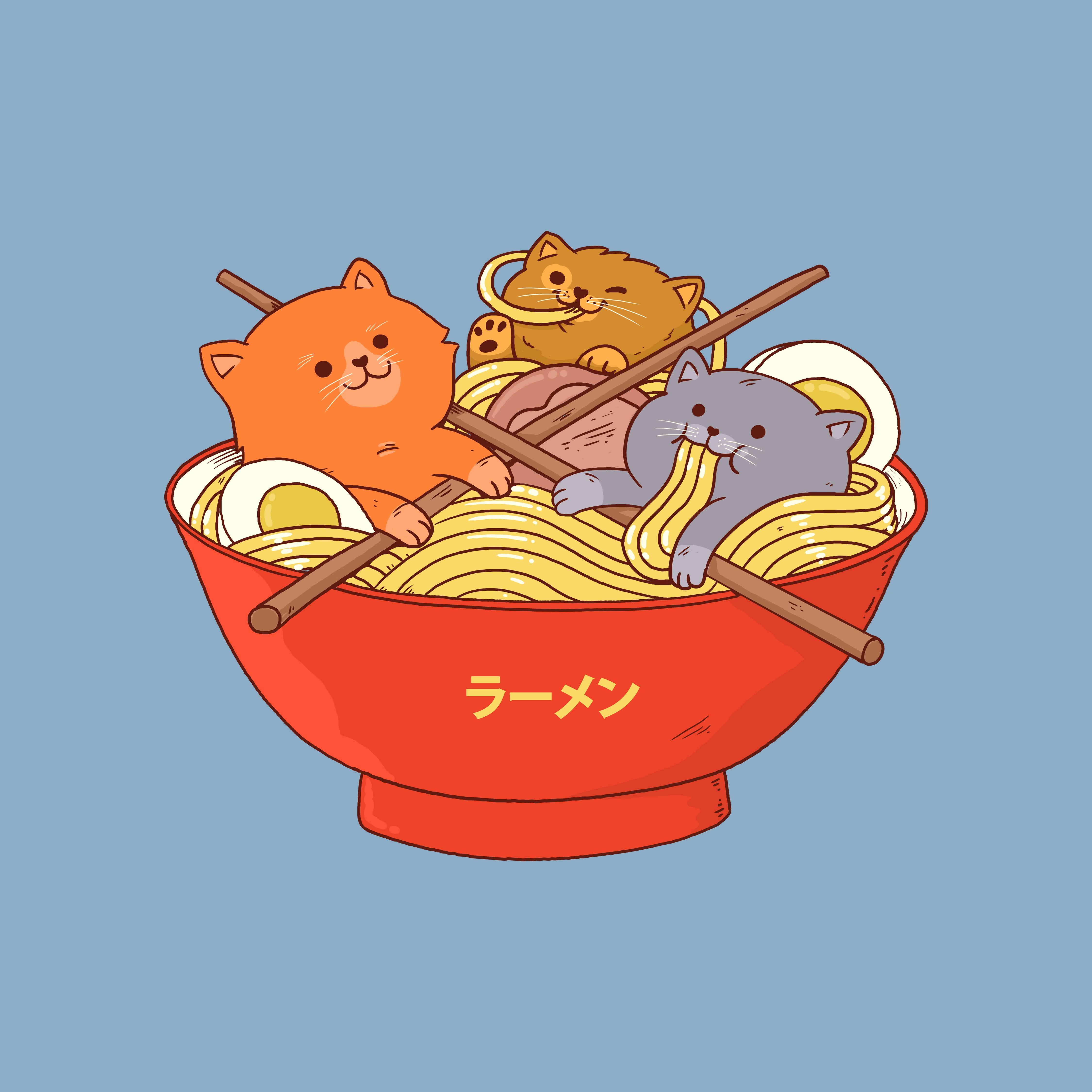 Most popular designs of April - Ramen and cats