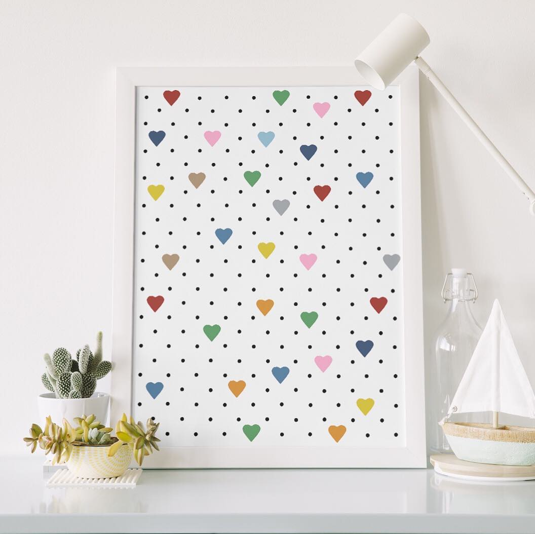 Framed heart dot print