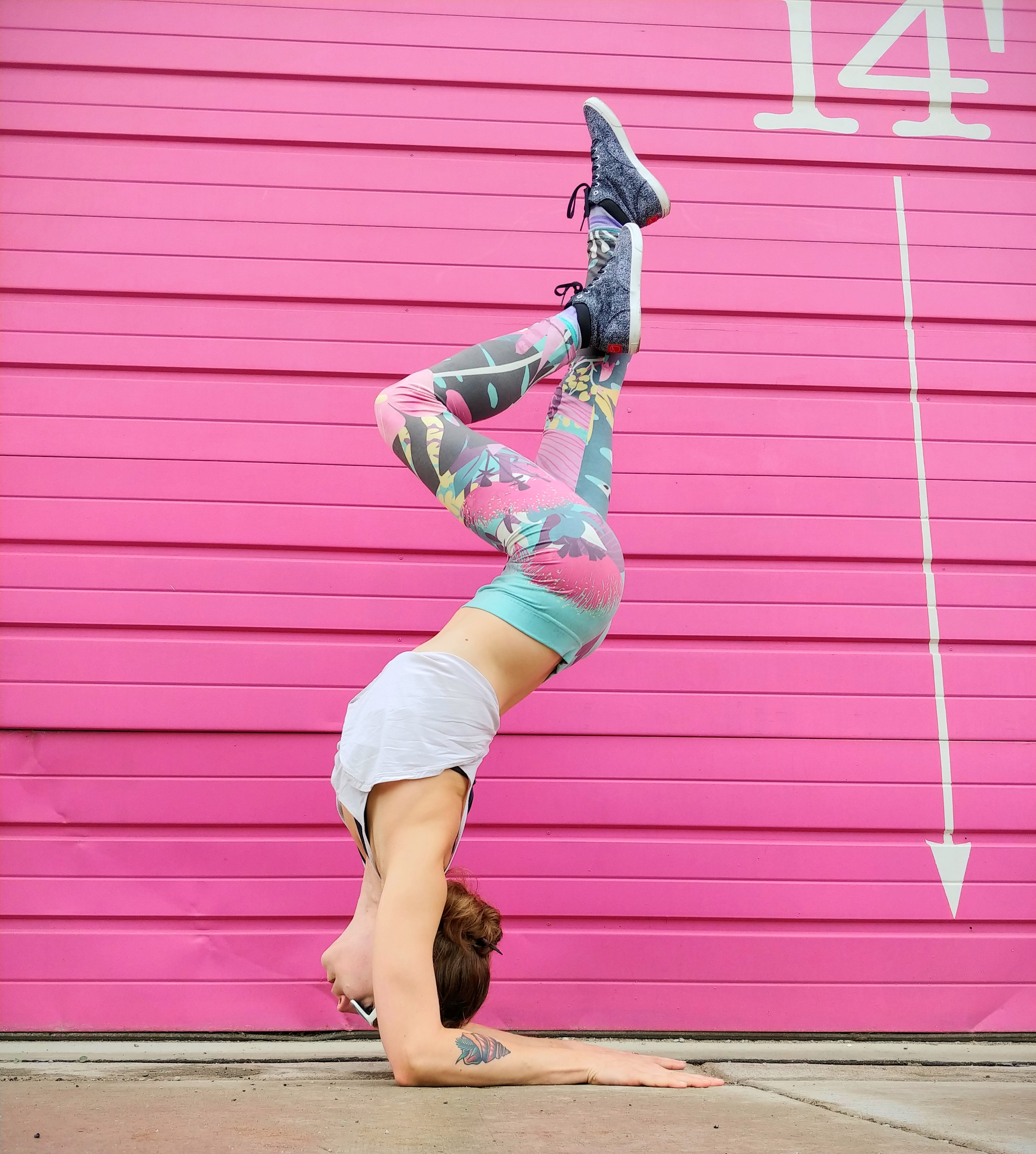Yoga and murals - pink wall