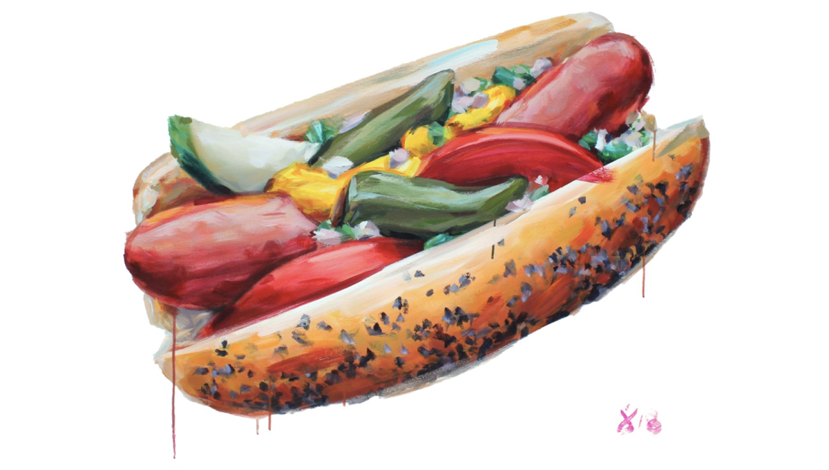 Chicago dog painting perfect for National Hot Dog Day