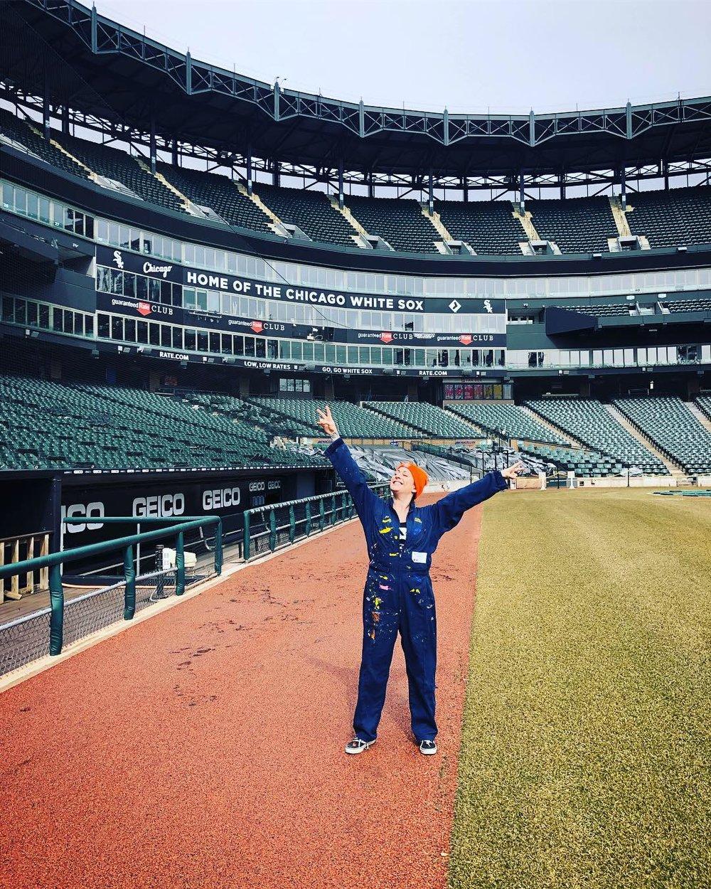 Lauren Asta on the White Sox field