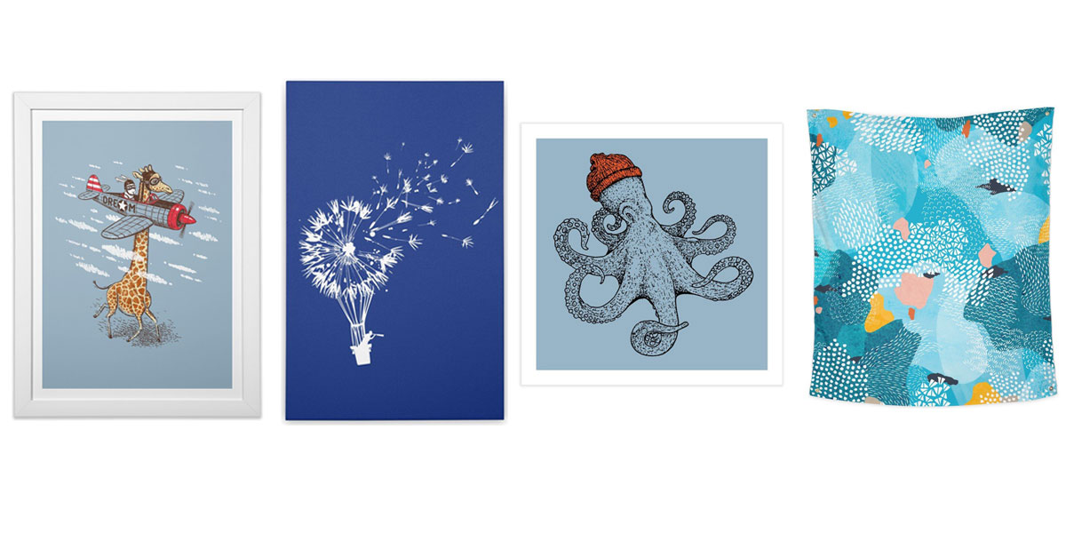 Blue colored art prints