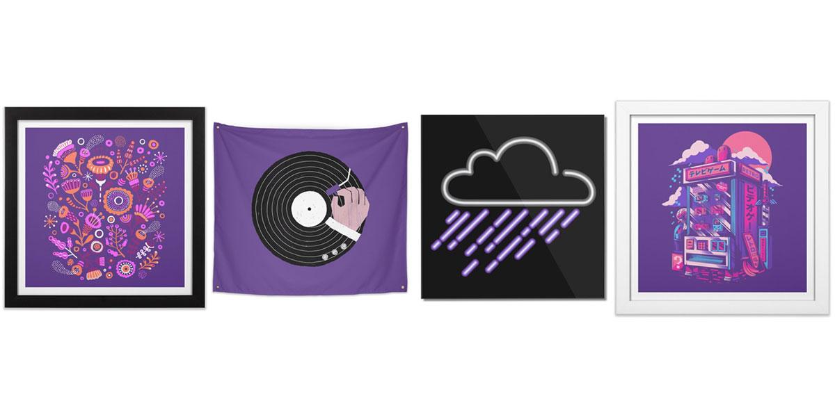 Purple colored art prints
