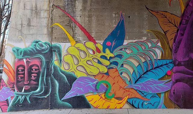 Muralist PHYBR's art on the B_Line