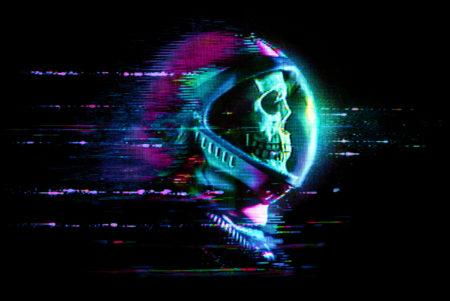 Glitch Skull Astronaut
