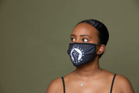 Woman wearing Black Lives Matter Face Mask