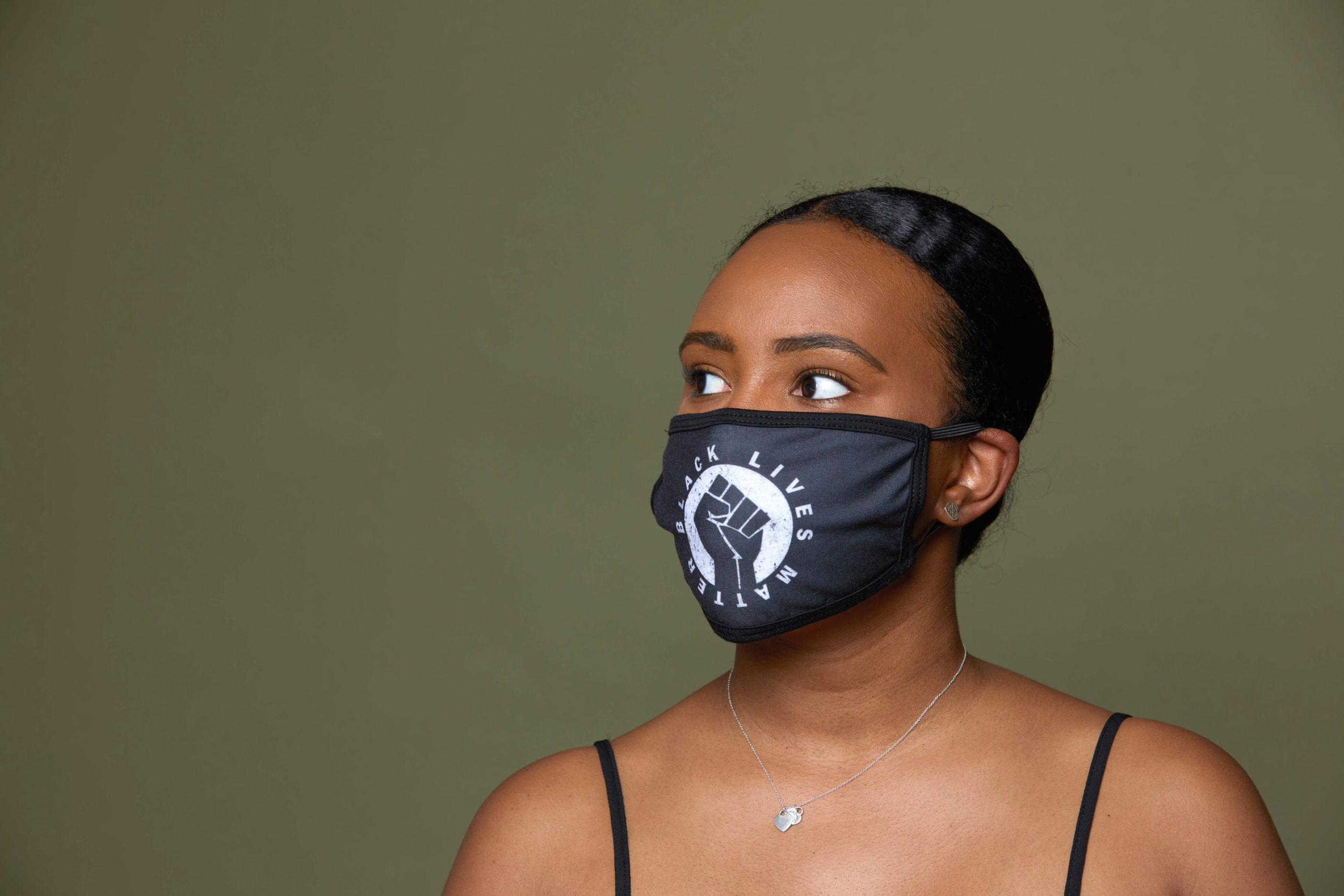 Woman wearing Black Lives Matter Face Mask