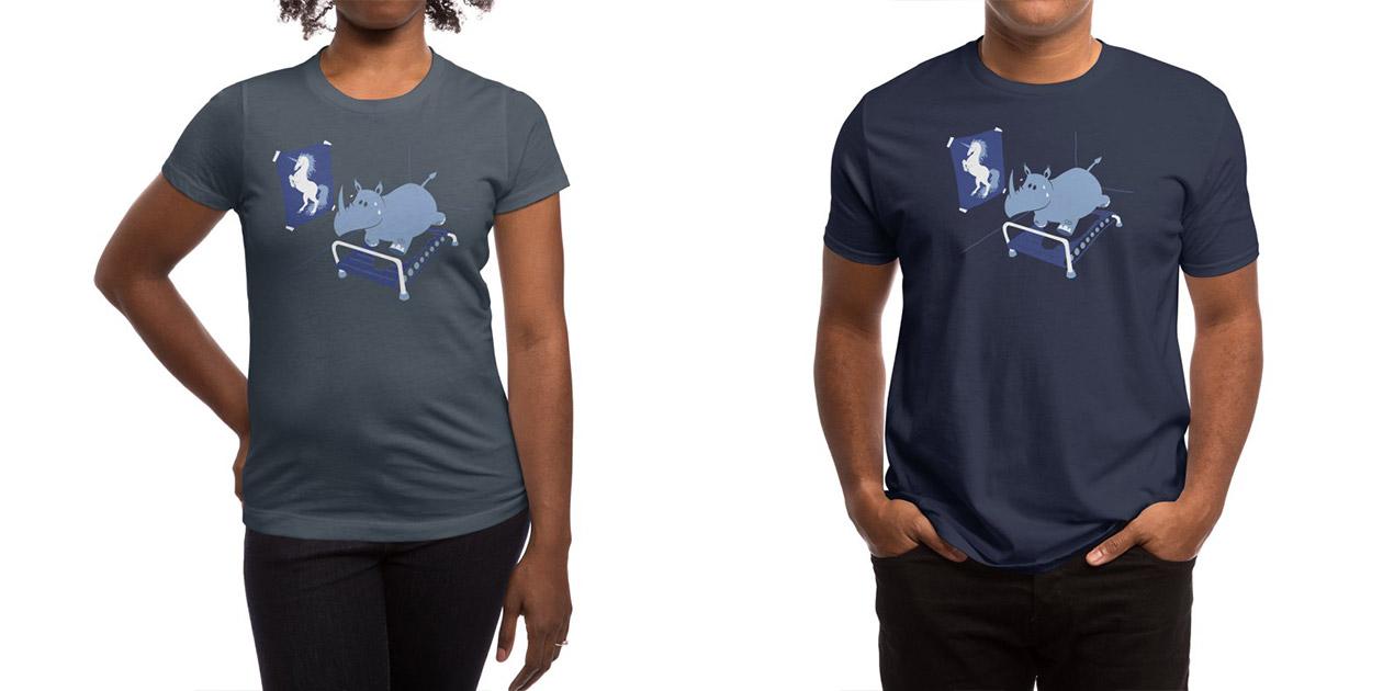 """Runnin' Rhino"" Women's Shirt and Men's Shirt by Deep Space Designs"