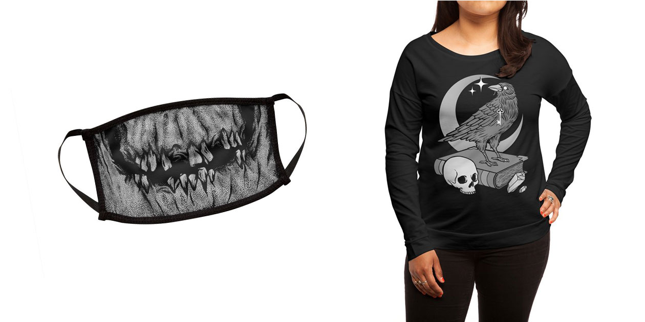 """""""Skull Face"""" Face Mask and """"Occult Crow"""" Women's Longsleeve by Deniart"""