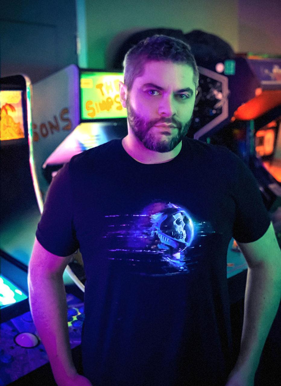 "Rob Sheridan Wearing ""Glitch Skull Astronaut"" Men's T-Shirt by Glitch Goods by Rob Sheridan"
