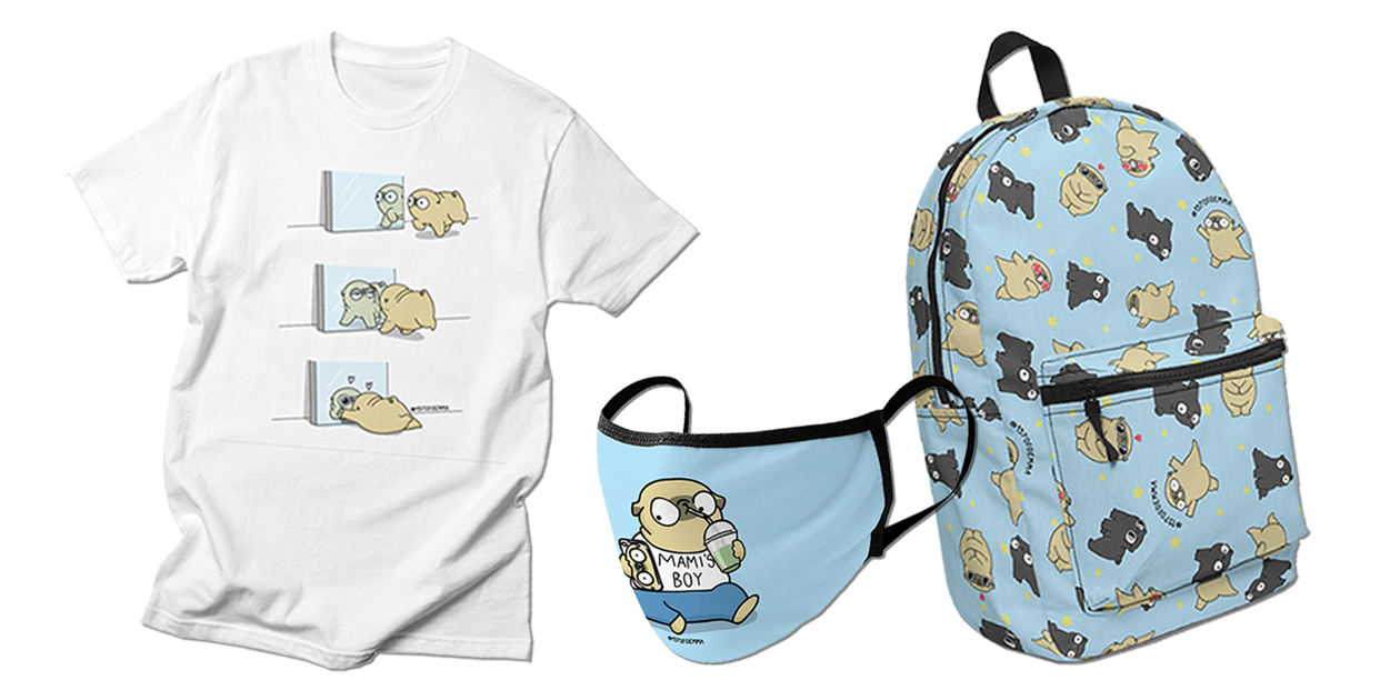 """""""Mochi the pug looking himself in the mirror"""" Men's T-Shirt, """"Mami's Boy"""" Premium Face Mask, and """"Black pug and fawn pug pattern"""" Backpack by 157 of Gemma"""