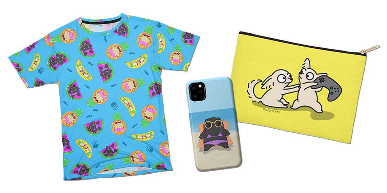 """""""Mochi the pug and friends in the ocean"""" Men's Cut & Sew T-Shirt, """"Violet the black pug sunbathing"""" iPhone 11 Phone Case, and """"The Twinchis playing a video game"""" Zip Pouch by 157 of Gemma"""