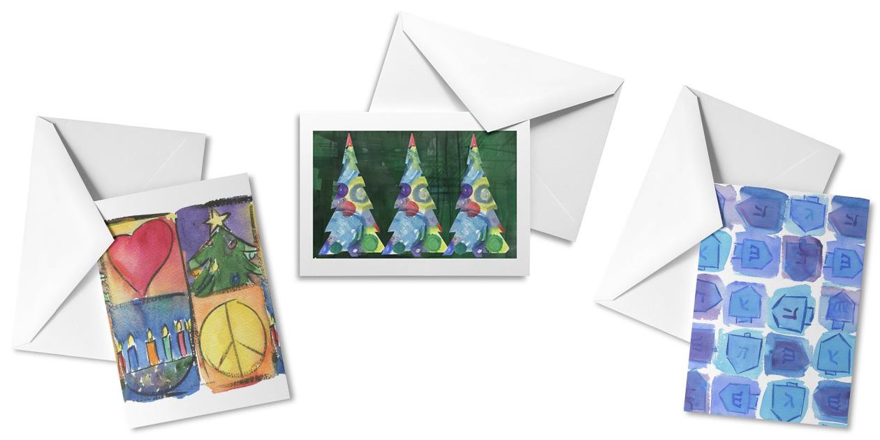 """Christmas and Chanukah,"" ""Christmas Trees,"" and ""Chanukah Dreidels"" by Marian Nixon"