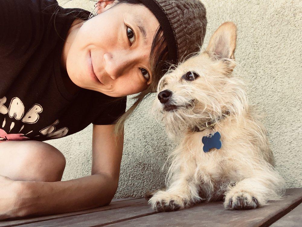 Shing Yin Khor and her dog, Bug