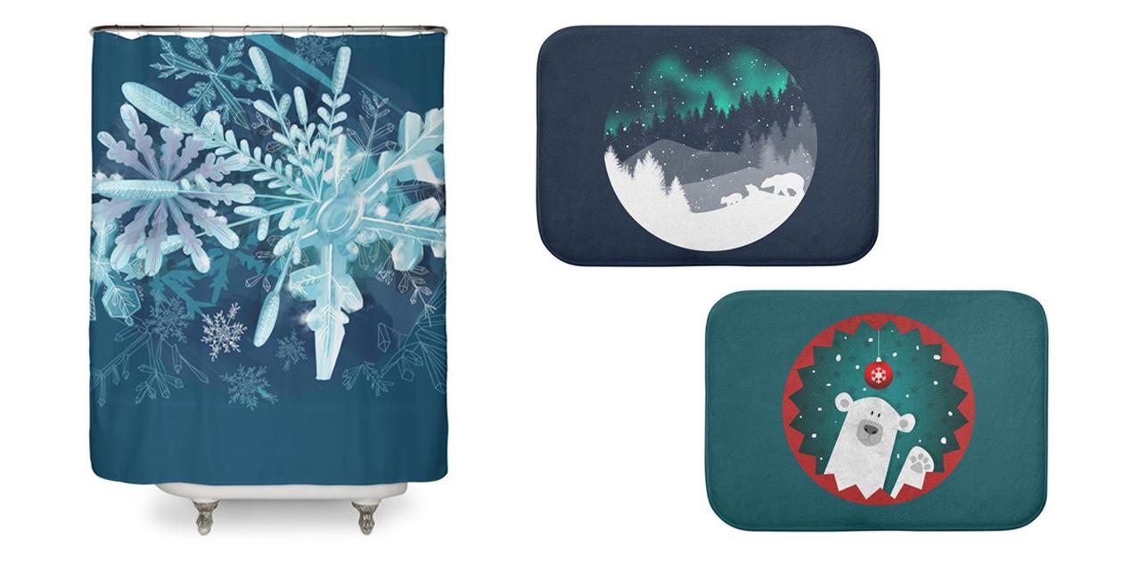"""Snowflakes"" Shower Curtain by milka, ""Stardust Horizon"" Bath Mat by Tobe Fonseca, and ""Cute Polar Bear Winter Christmas with Snowflakes"" Bath Mat by Poking the Beast"