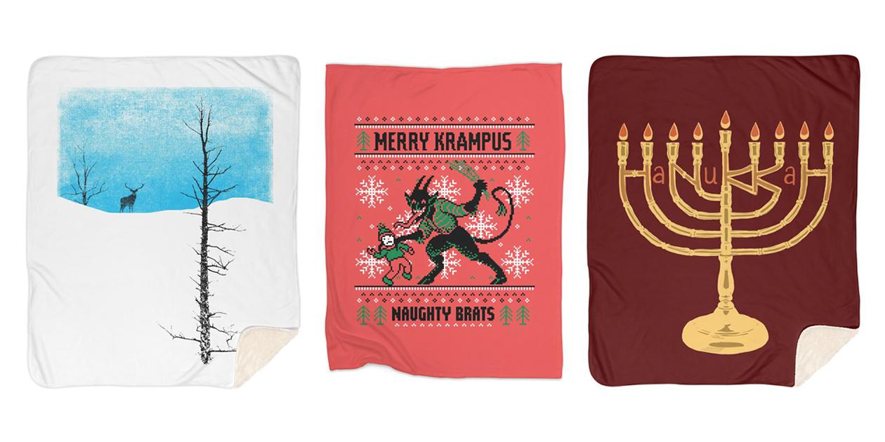 """Lonely Tree"" Sherpa Blanket by bulo, ""Naughty Brats"" Fleece Blanket by thunderpeel, and ""Hanukkah"" Sherpa Blanket by BigfootAR"