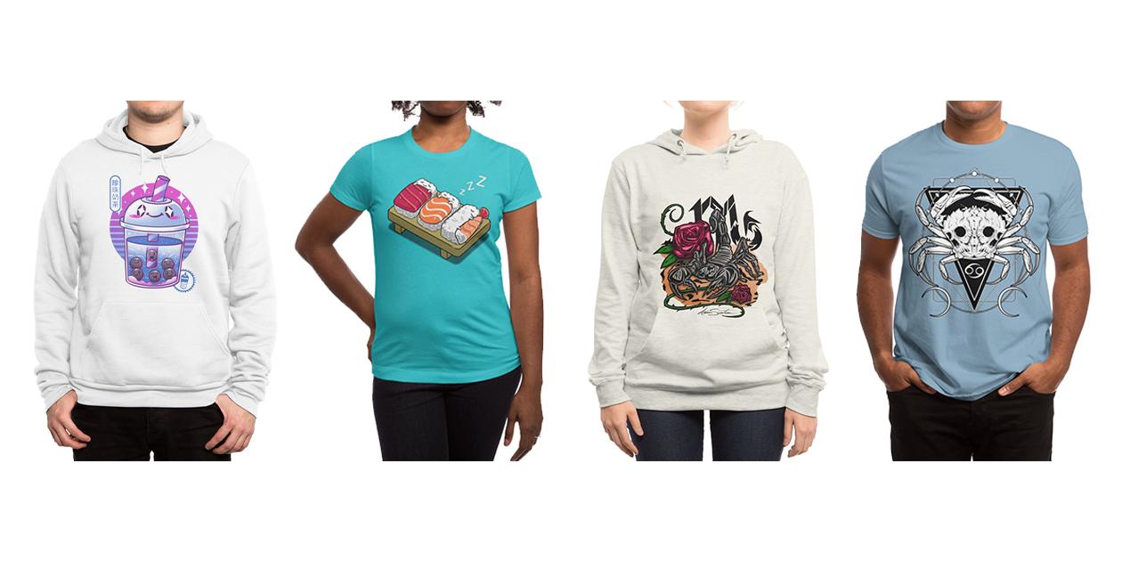 """Boba Wave Tea"" Men's Sponge Fleece Pullover Hoody by Vincent Trinidad Art, ""Sleepy Sushi"" Women's Fitted T-Shirt by Benjimoji, ""Scorpio - Zodiac"" Women's Pullover Hoody by adamzworld, and ""Zodiac: Cancer"" Men's Regular T-Shirt by Von Kowen"