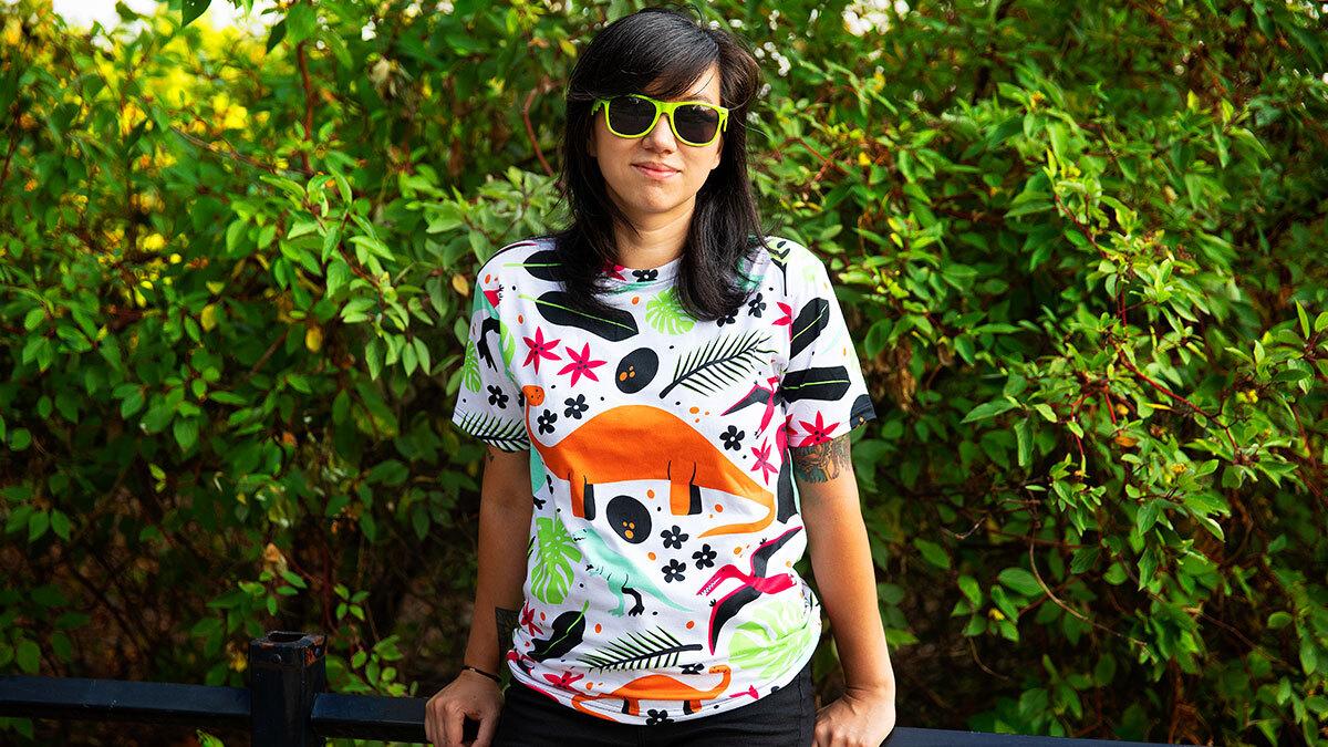 """Dino-Raur!"" Cut & Sew Unisex T-Shirt by robyriker"
