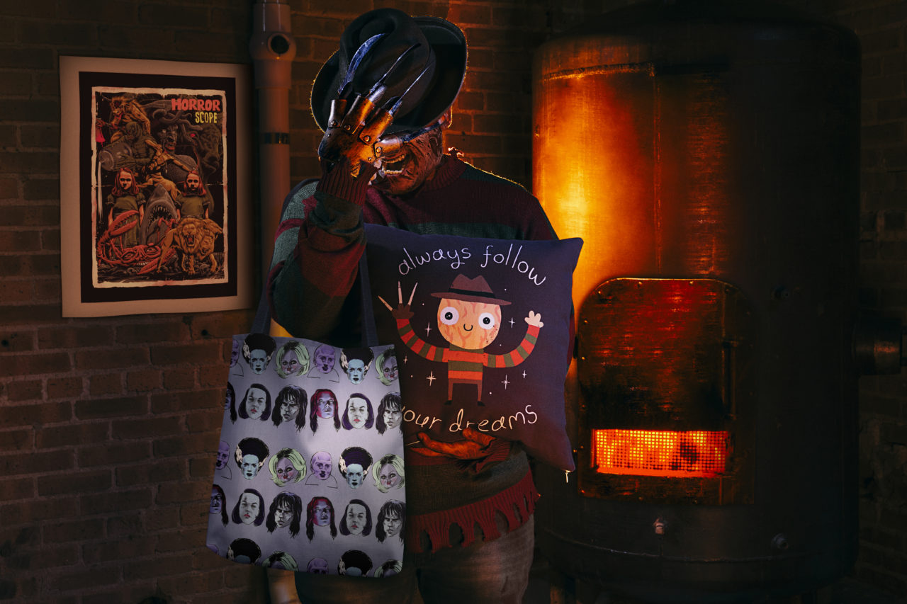 """""""Horrorscope"""" Framed Fine Art Print by khairulanam87 and kooky love, """"Horror Femmes"""" Tote Bag by Ego Rodriguez, and """"Always Follow Your Dreams"""" Throw Pillow by DinoMike"""