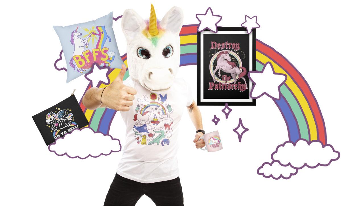 """Skeleton Unicorn"" Zip Pouch by NemiMakeit, ""BFFS"" Throw Pillow by Hillary White, ""Unicorns!"" Men's Regular T-Shirt by Obinsun, and ""Destroy the Patriarchy"" Framed Fine Art Print by thiagocorrea"