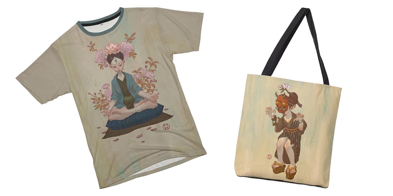 """Zen"" Men's Cut & Sew T-Shirt and ""Hannya 2"" Tote Bag by Will Murai"