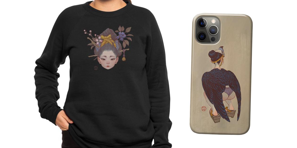 """Mirtilo"" Women's Sponge Fleece Sweatshirt"" and ""Taka"" iPhone Case by Will Murai"