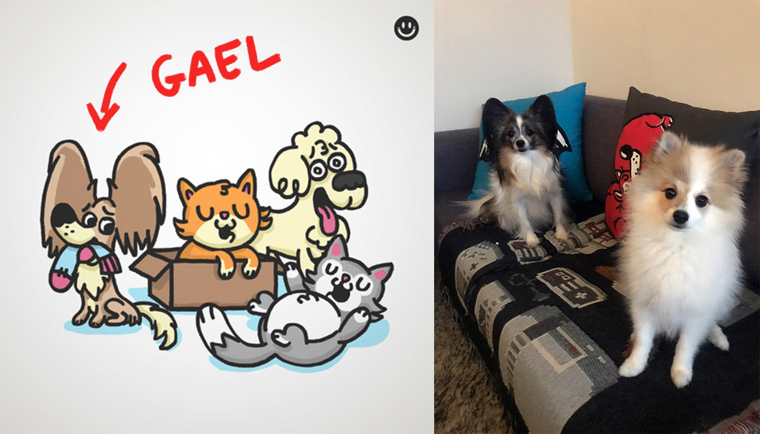 Illustration by RodrigoBHZ on the left, photograph of Gael and Ziggy on the right