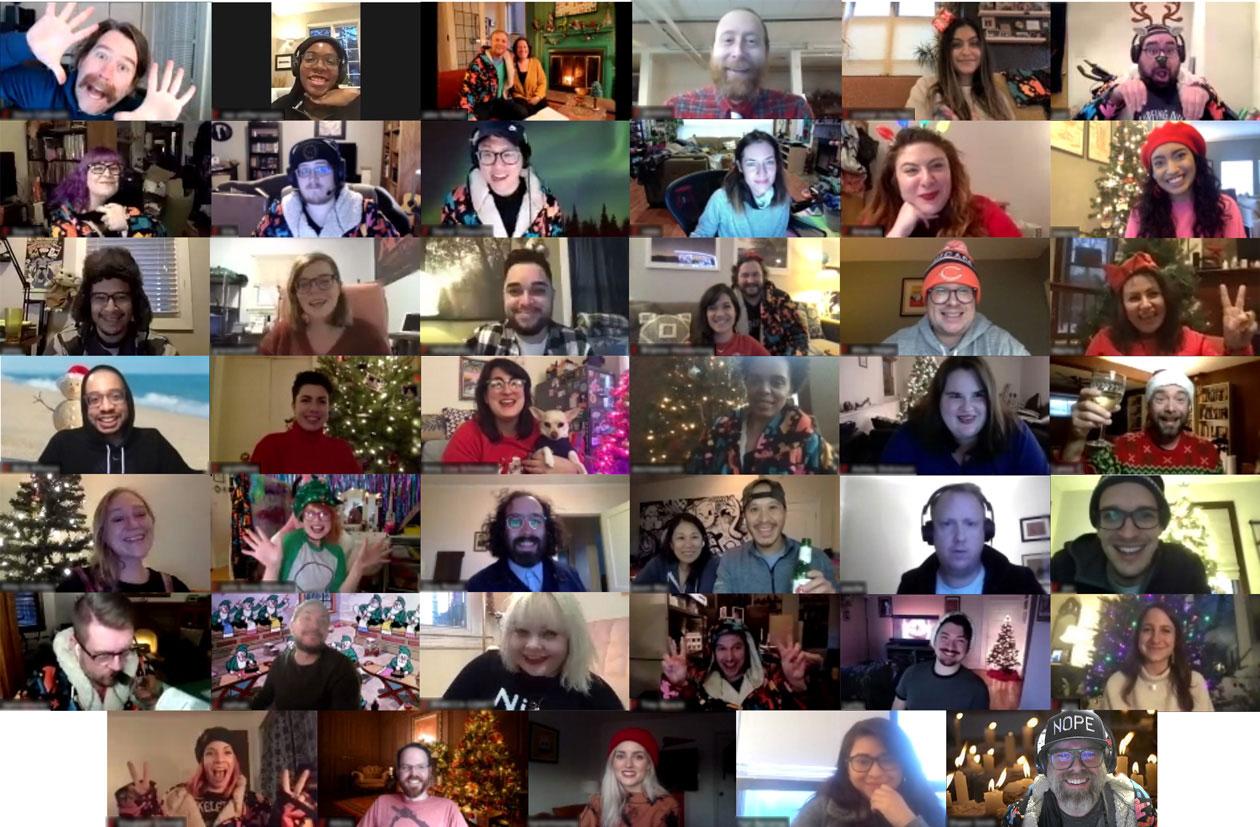 Threadless staff celebrating the holidays via Zoom.