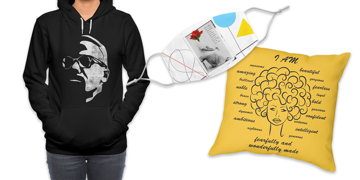 "MX"" Women's Pullover Sponge Fleece Hoodie by bulo, ""Identity"" Throw Pillow by Amaris Art & Design, and ""Breathe"" Regular Face Mask by V A N L A W R E N C"