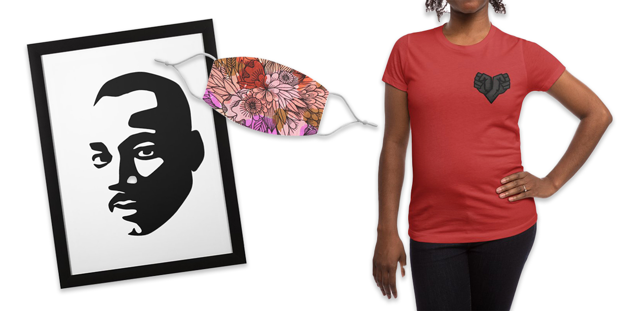 """""""MLK"""" Framed Fine Art Print by bulo, """"Summer flowers warm colors"""" Regular Face Mask by Floresta moon, and """"Black Heart"""" Women's Fitted T-Shirt by Rodrigobhz"""
