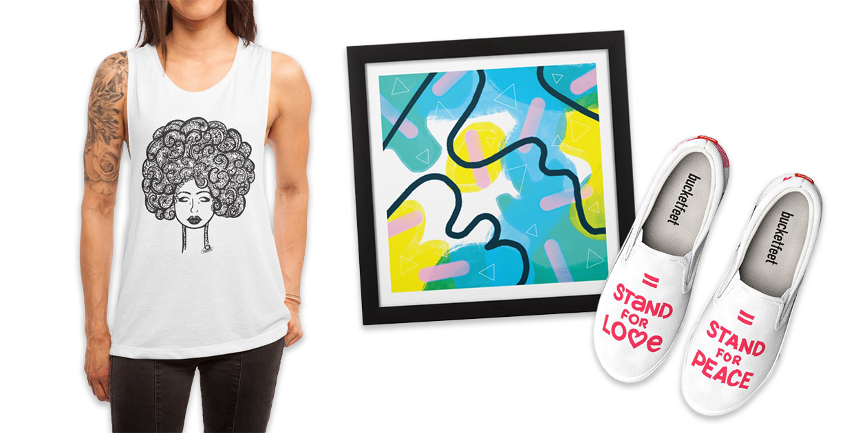 """""""Afrodasia"""" Women's Muscle Tank by Amaris Art & Design, """"Pink Sprinkles"""" Framed Fine Art Print by CephalopodArt, and """"Stand for Love"""" Bucketfeet Men's Shoes by AvidAmes"""
