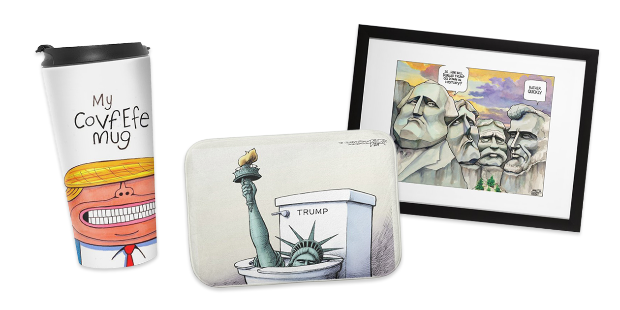"""""""My Covfefe Mug"""" Travel Mug by Christ Britt, """"In the Toilet"""" Bath Mat by Nate Beeler, and """"Rushmore"""" Framed Fine Art Print by Kevin Kal Kallaugher, available in Counterpoint's Artist Shop"""