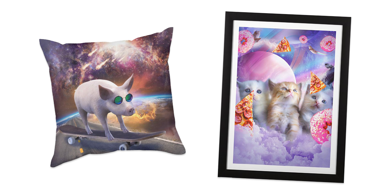 """""""Pig Wearing Glasses on Skateboard in Space"""" Throw Pillow and """"Kitten Cat in the Clouds, Donut And Pizza"""" Framed Fine Art Print by Random Galaxy"""