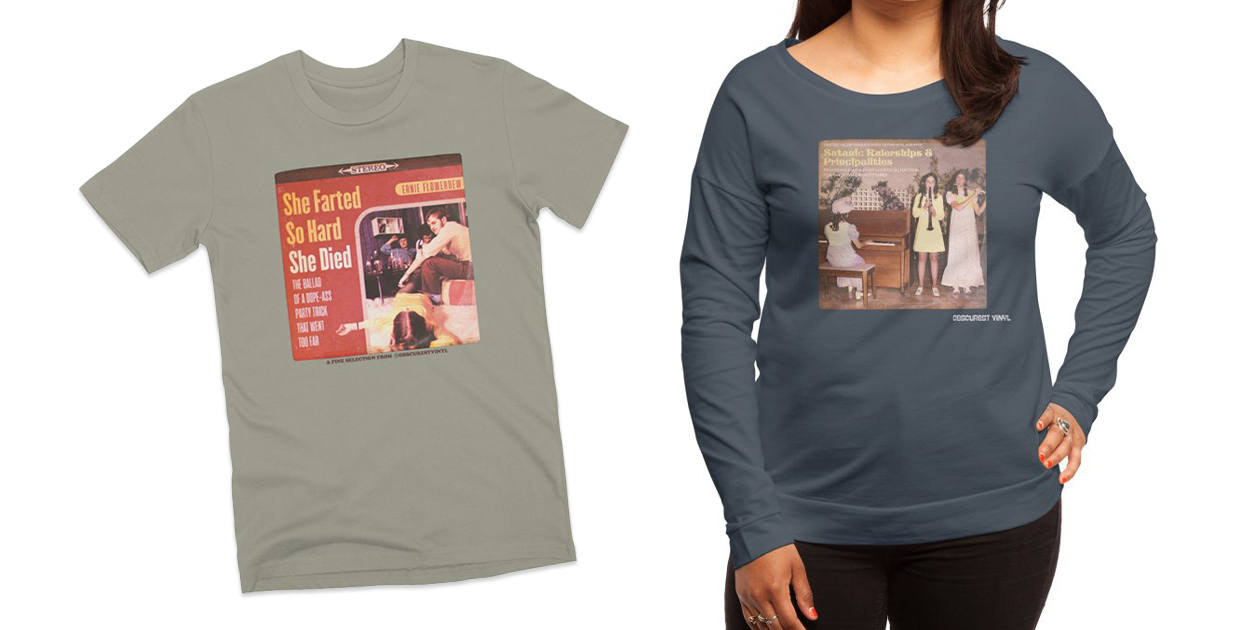 """""""She Farted So Hard She Died [Album Cover]"""" Men's Premium T-Shirt and """"Satanic Rulerships & Principalities [Album Cover]"""" Women's Scoop Neck Longsleeve T-Shirt by Obscurest Vinyl"""