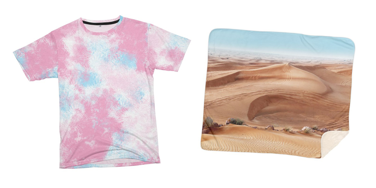 """""""Cotton Candy Clouds"""" Men's Cut & Sew T-Shirt and """"Sand, Dubai"""" Sherpa Blanket by T.Woods"""