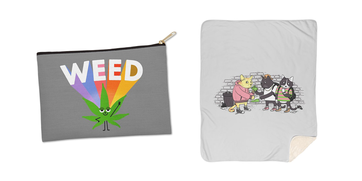"""""""Weed"""" Zip Pouch by maurogatti and """"Meowy Wowy"""" Sherpa Blanket by tenso"""