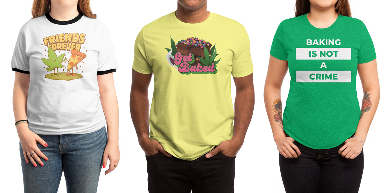 """""""Forever Friends"""" Unisex Ringer T-Shirt by Ilustrata, """"Get Baked"""" Men's Regular T-Shirt by Sarah_Lillian, and """"Baking is Not a Crime"""" Women's Triblend T-Shirt by gulayfather"""