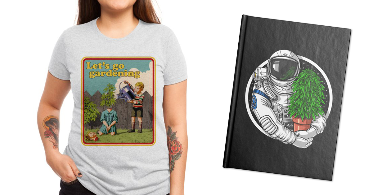 """""""Let's Go Gardening"""" Women's Triblend T-Shirt by khairulanam87 and """"Astronaut Weed Grower"""" Notebook by AkashaTees"""
