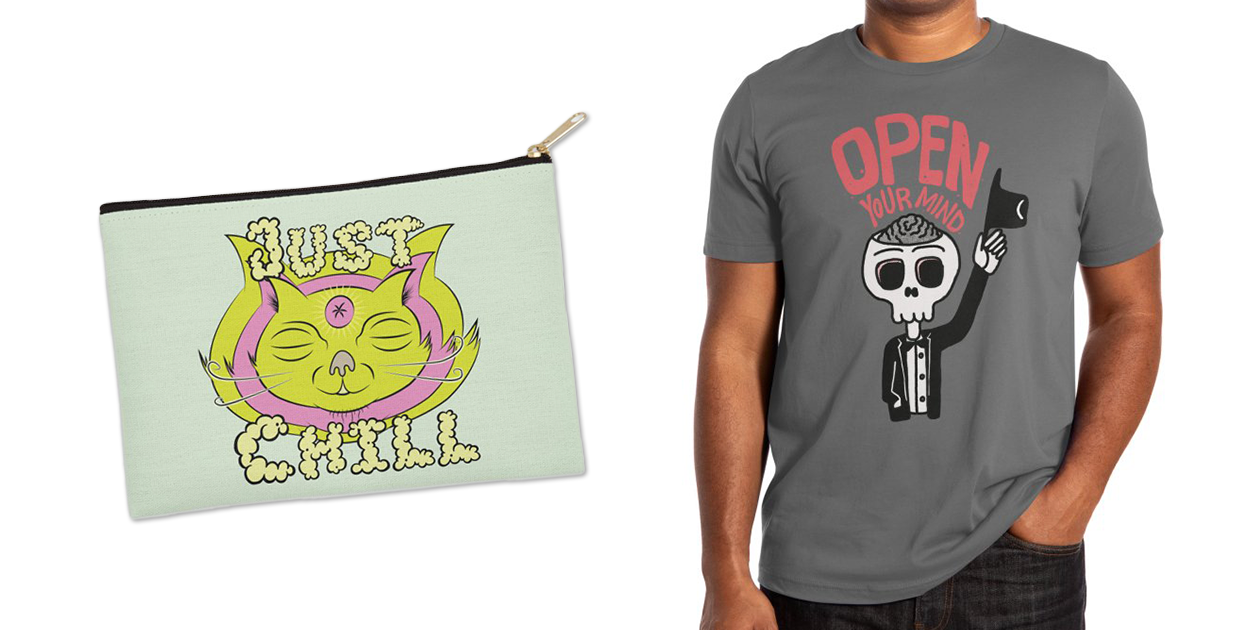 """""""Just Chill"""" Zip Pouch by marsin84 and """"Open Your Mind"""" Men's Extra Soft T-Shirt by rjartworks"""