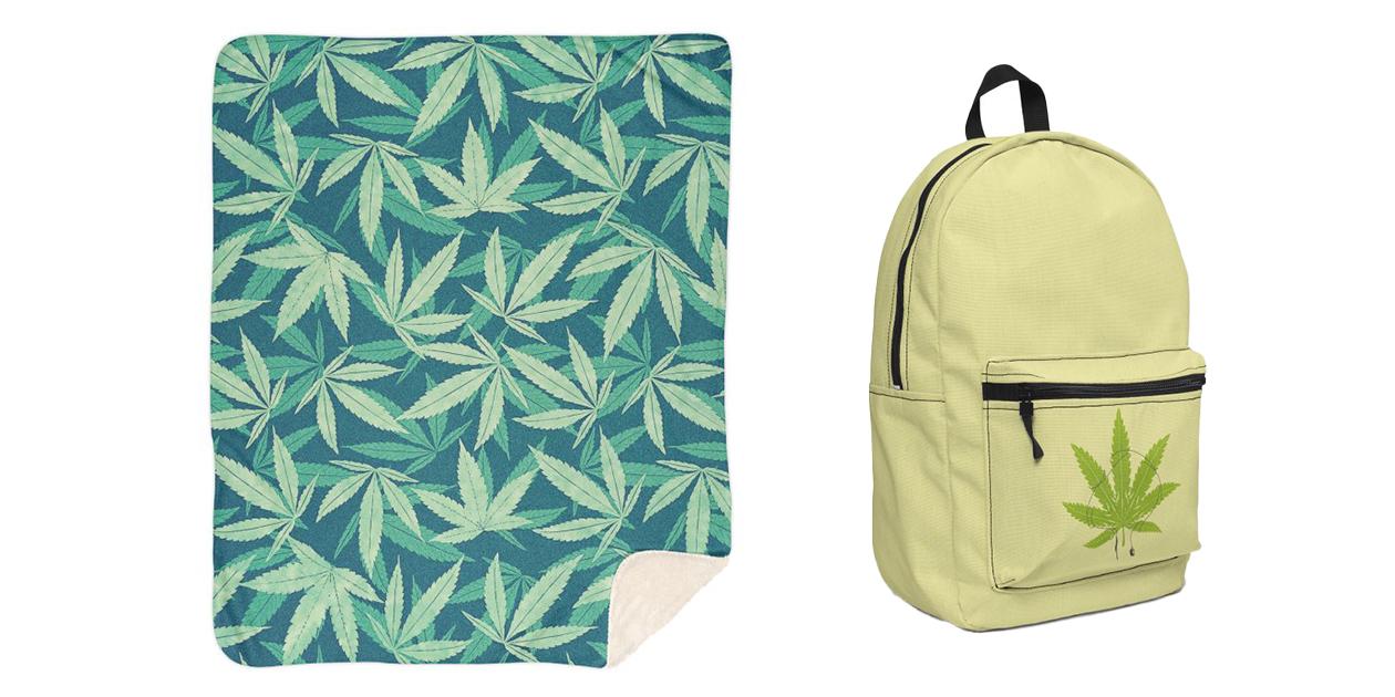 """Hemp!"" Sherpa Blanket by badbugs_art and ""Ganjaboards"" Backpack by opippi"