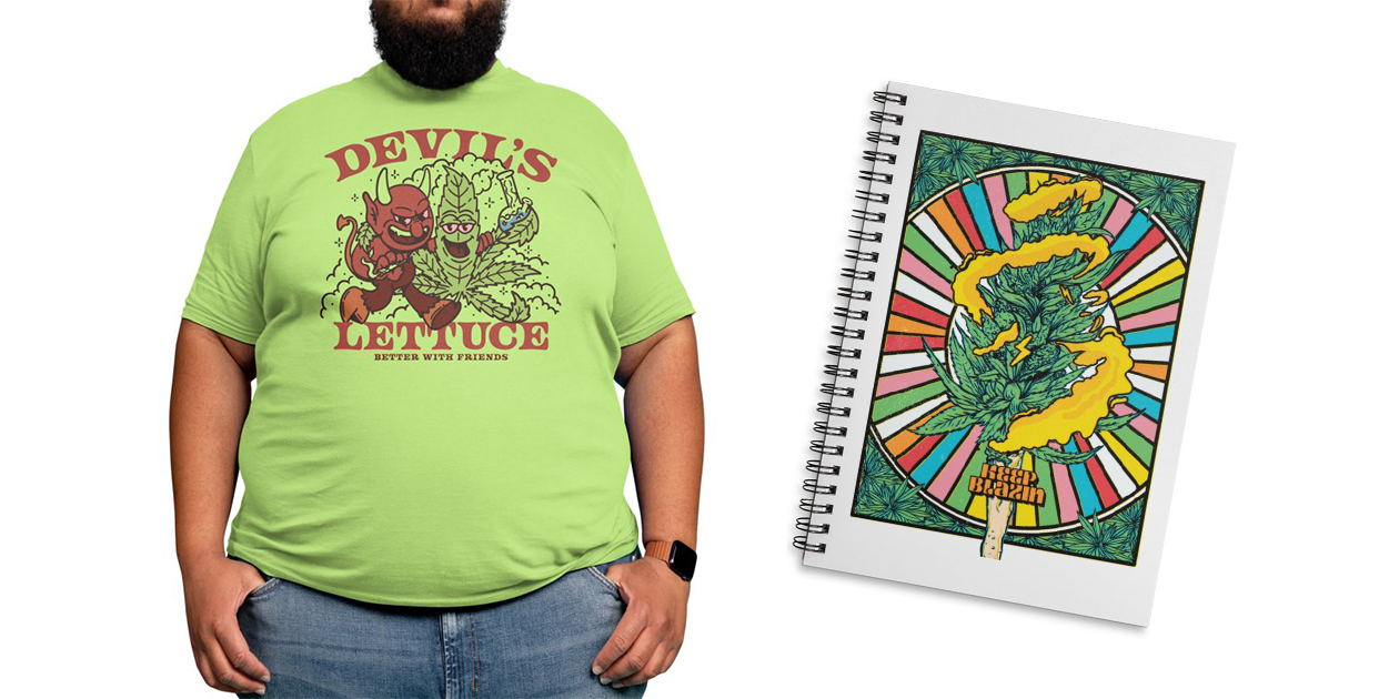 """Devil's Lettuce"" Men's Regular T-Shirt by DustinnnWyatt and ""Keep Blazin"" Notebook by rjartworks"