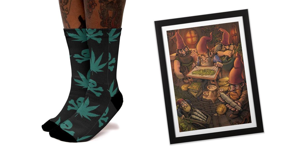 """Weed | Marijuanna | Cannabis"" Socks by Kosmos Origins and ""Gnome Workshop"" Framed Fine Art Print by TerpeneTom"