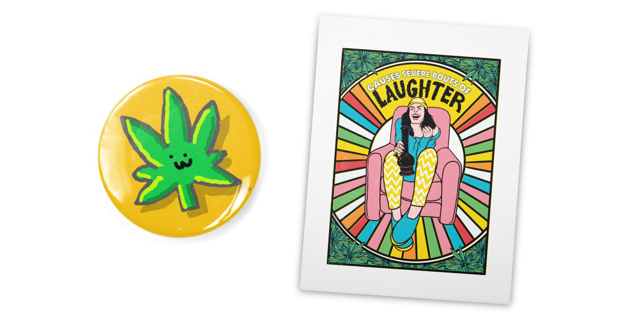 """""""Weeed."""" Pin by aarontheoddone and """"Bouts of Laughter"""" Stretched Canvas Art Print by rjartworks"""