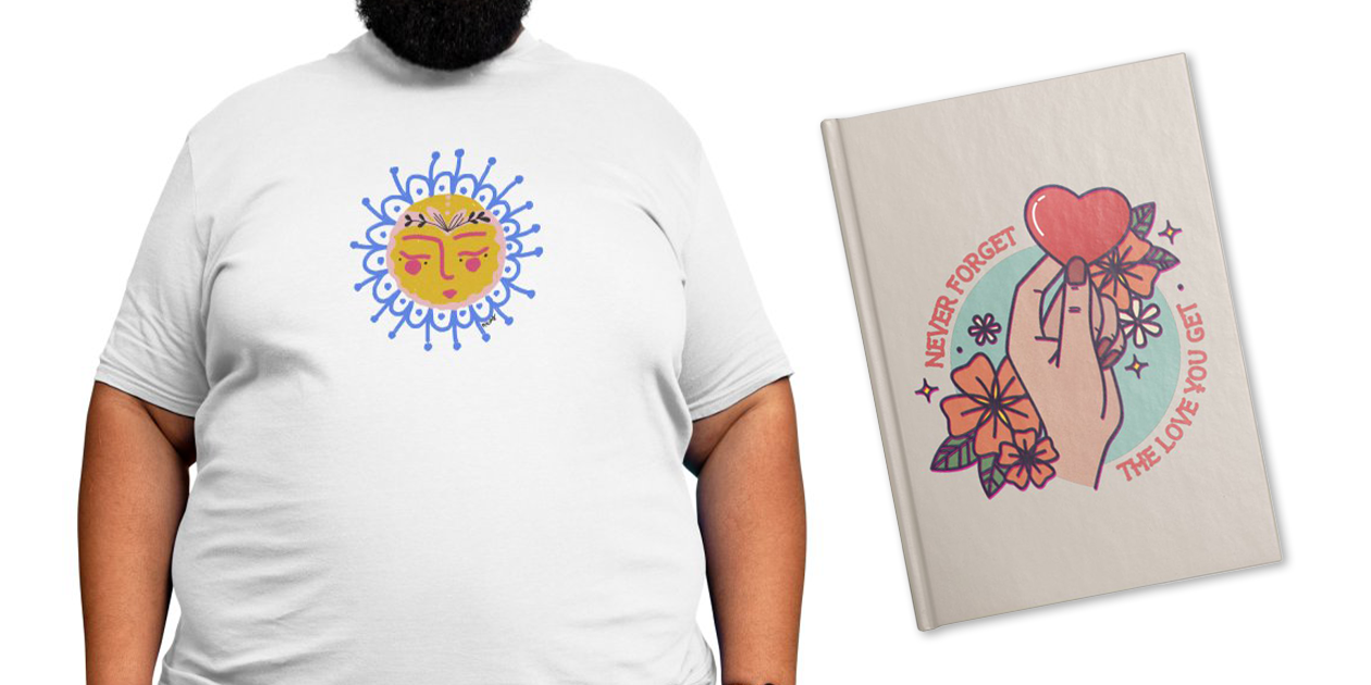 """""""Little Sun Face"""" Men's Regular T-Shirt by NWPB10 and """"The Love You Get"""" Lined Journal by Stifflines"""