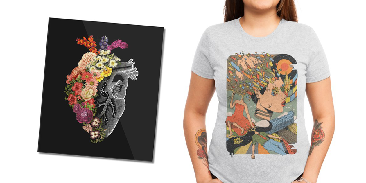 """""""Flower Heart Spring"""" Mounted Acrylic Print by tobefonseca and """"A Shattered Mind"""" Women's Triblend T-Shirt by fhigi25"""