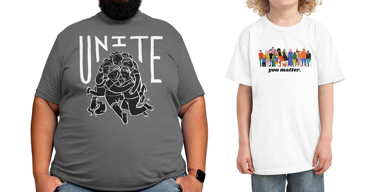 """Unite"" Men's Regular T-Shirt by mjhildebrand and ""You Matter"" Kids' T-Shirt by ElectricPress"