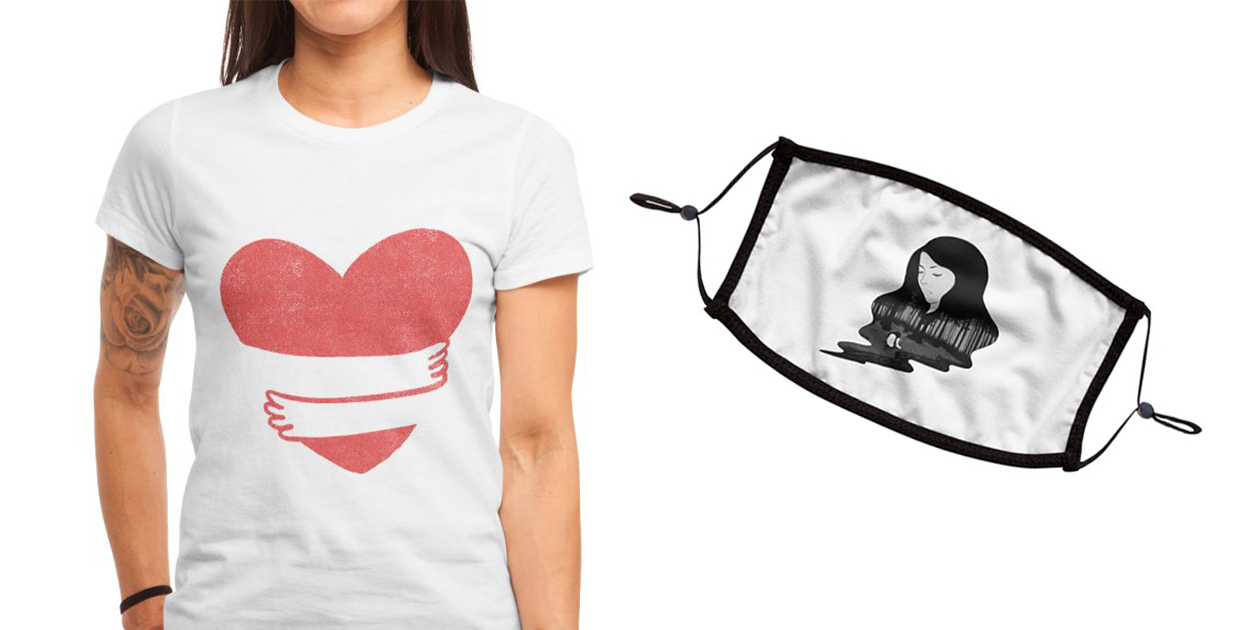 """""""Love Yourself"""" Women's Fitted T-Shirt by kooky and """"Crying Inside"""" Premium Face Mask by episodicDrawing"""