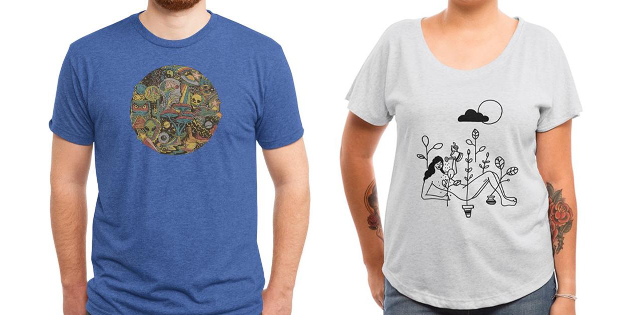 """Your Mind's Eye"" Men's Triblend T-Shirt by Steven Rhodes and ""Shower"" Women's Scoop Neck Dolman T-Shirt by ninhol"